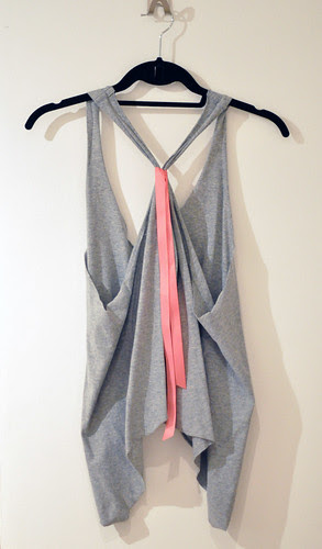 cropped tank diy gray and neon watermelon pink