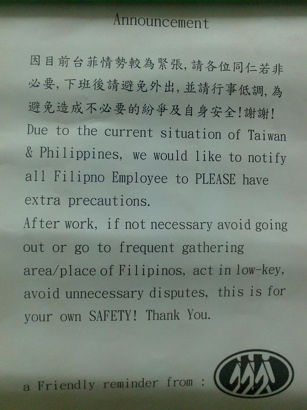 Notice to Filipinos in Taiwan