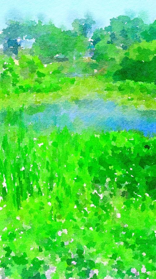 Spring Pond Abstract Watercolor by Leah Lambart
