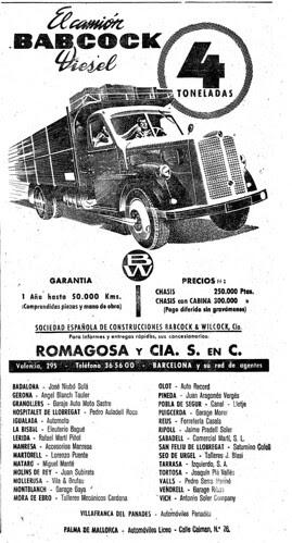Publicitat del camió Babcock Diesel a La Vanguardia (Barcelona)