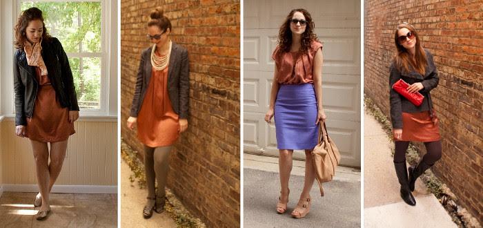 orange dress remix, how to wear silk dress many ways, joie silk shift dress