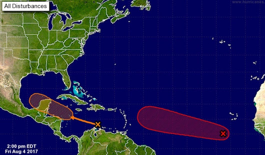 Two Tropical Systems to Watch:  99L in Eastern Atlantic, 90L in Caribbean