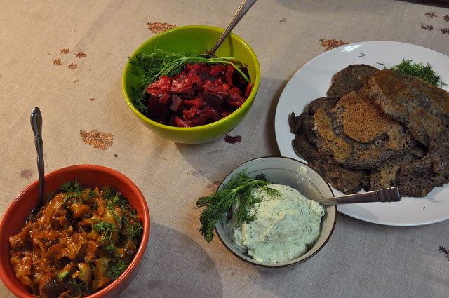 qorma, borscht, and buckwheat pancakes