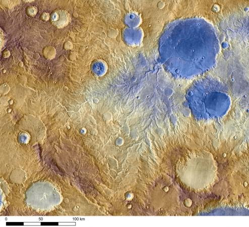 Mars from the Odyssey spacecraft - Water-carved valleys on Mars appear to have been caused by runoff from precipitation, likely meltwater from snow. Early Martian precipitation would have fallen on mountainsides and crater rims.