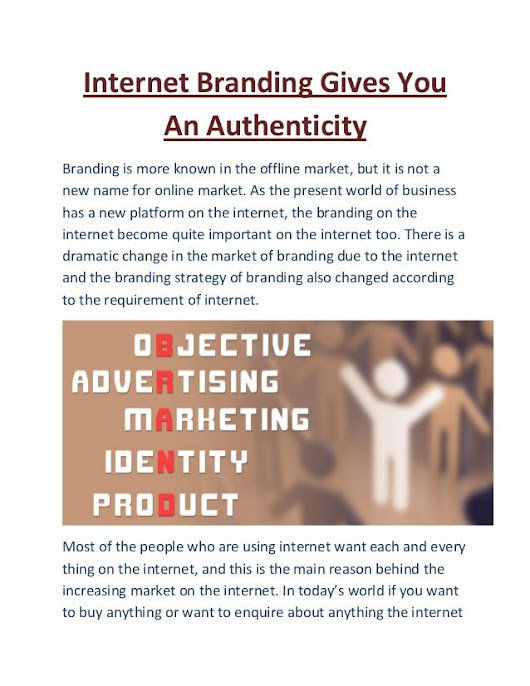 Internet branding gives you an authenticity