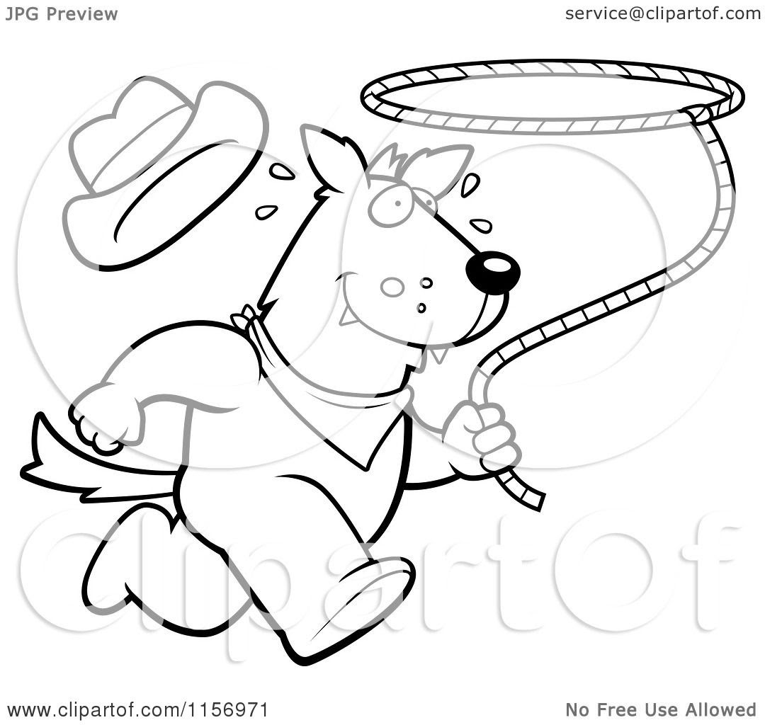 Cartoon Clipart Of A Black And White Rodeo Wolf Running ...