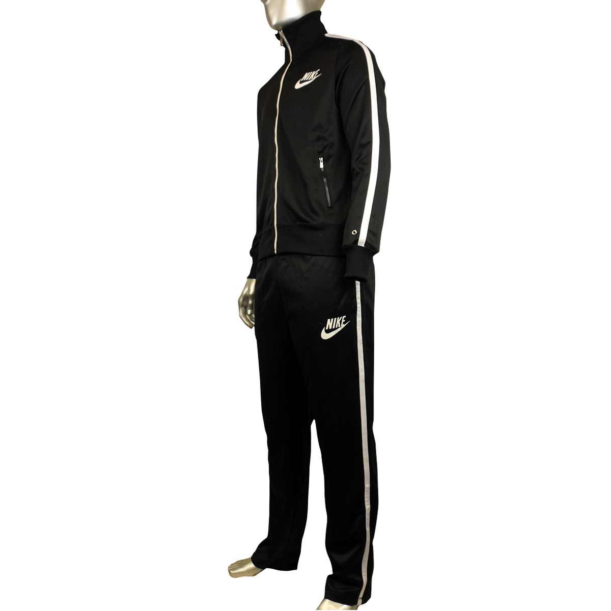 mens boys nike black polyester full suit tracksuit