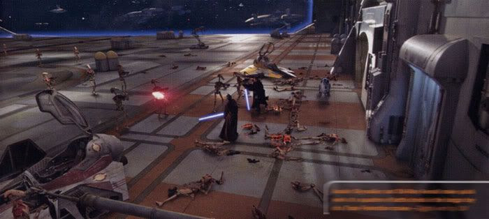 Obi-Wan Kenobi and Anakin Skywalker make quick work of a group of battledroids inside the hangar bay of The Invisible Hand.