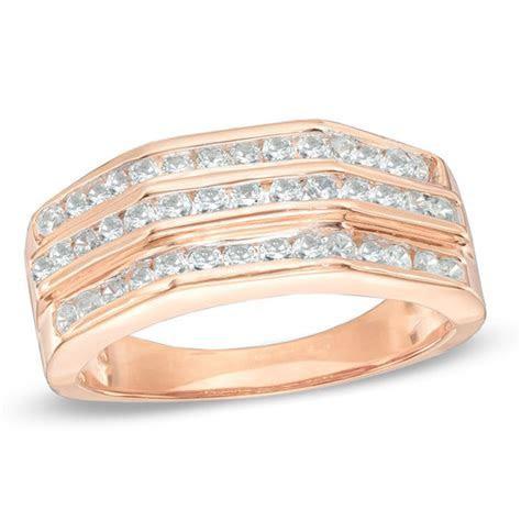 Men's 1/2 CT. T.W. Diamond Wedding Band in 10K Rose Gold