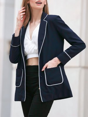 Contrasting Piped Blazer - Purplish Blue