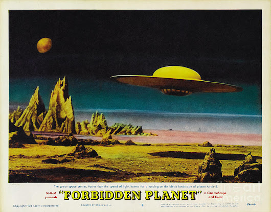 Forbidden Planet In Cinemascope Retro Classic Movie Poster Detailing Flying Saucer by R Muirhead Art