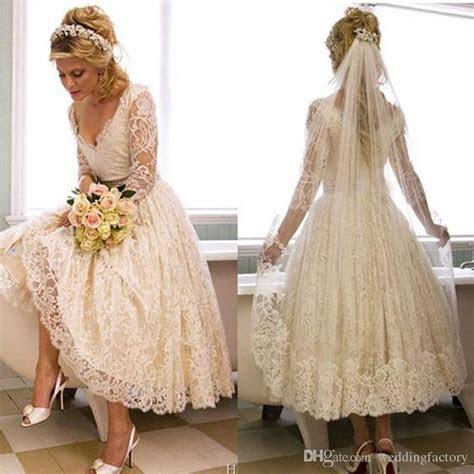 Discount Vintage Lace 2017 1950s V Neck Wedding Dress Tea