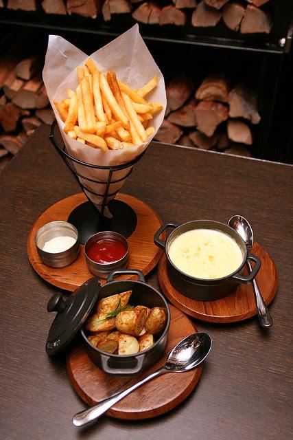 French Fries, Sauteed Kipfler Potatoes and Creamy Corn