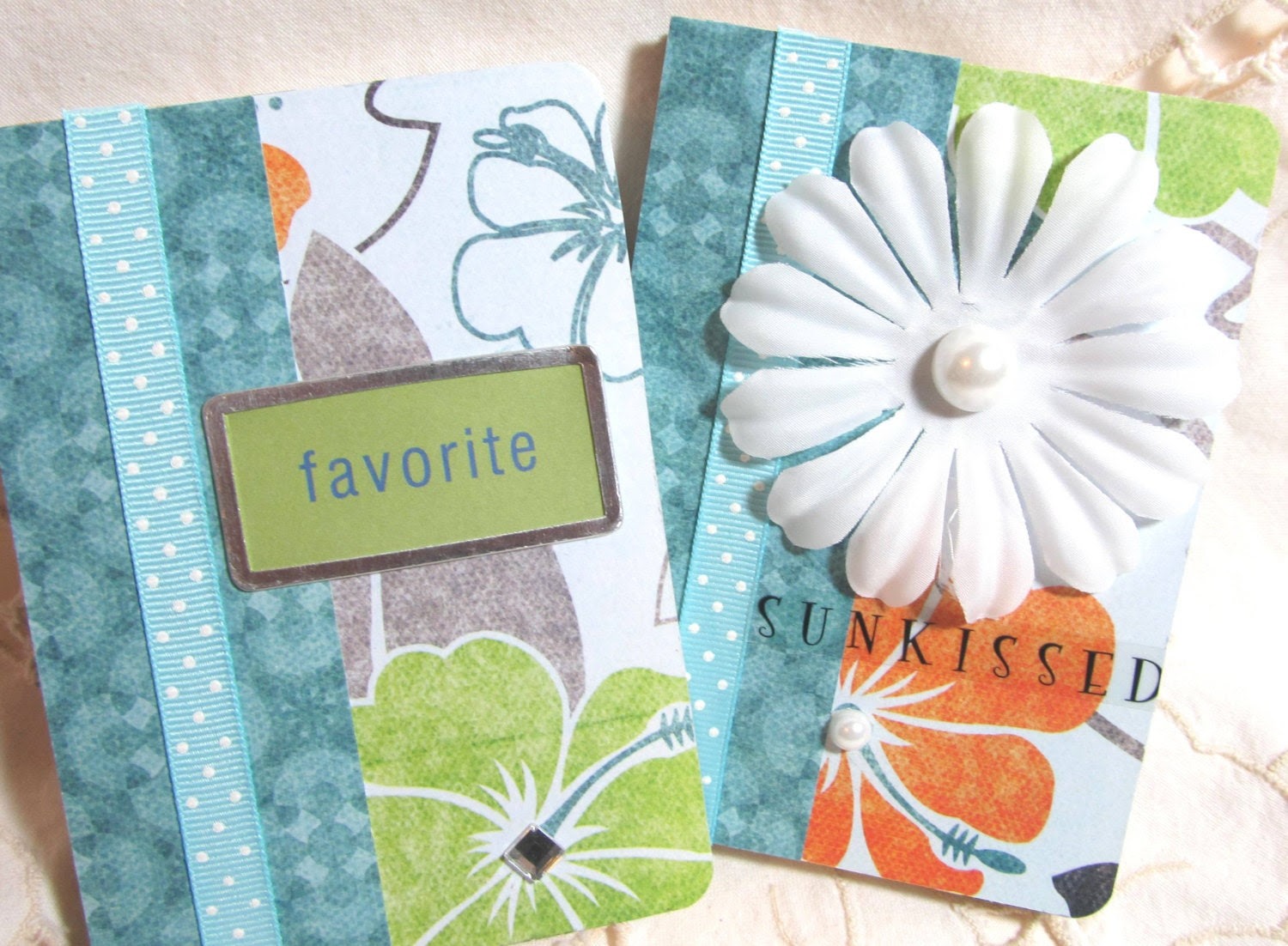 Altered Mini Journal - Altered Mini Notebook - Colorful Notebook - Tropical Print - Stocking Stuffers - Turquoise Notebook - Little Journals - PrettyByrdDesigns