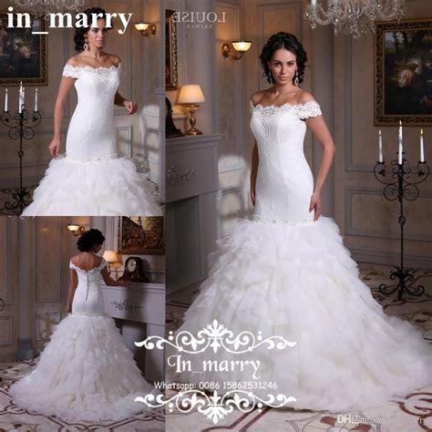 Cascading Ruffles Plus Size Lace Wedding Dresses 2017