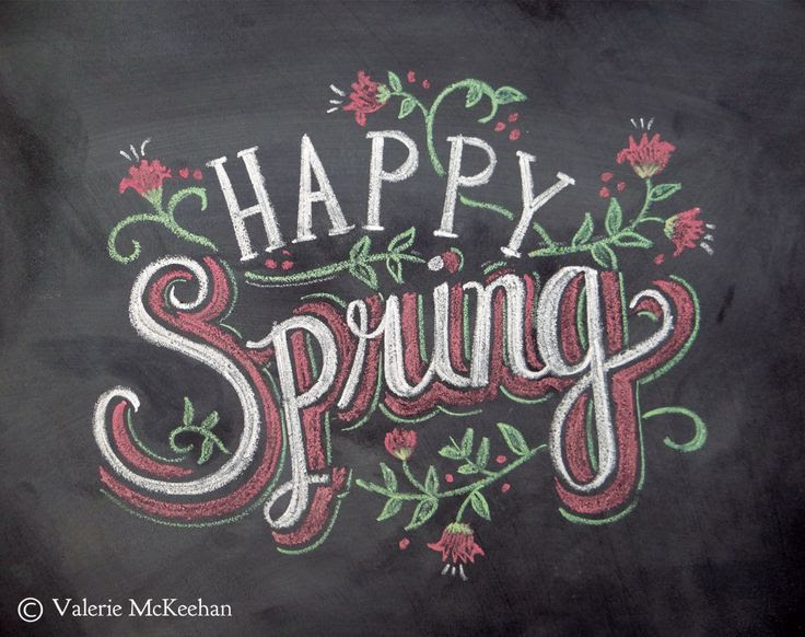 Spring Card - Happy Spring - Easter Card - Chalkboard Art - Hand Lettering- Chalk Art - Colored Chalk. $2,50, via Etsy.