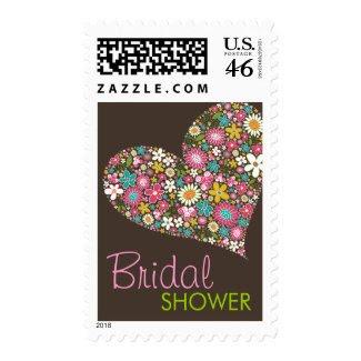 Spring Flowers Heart Love Bridal Shower Stamps