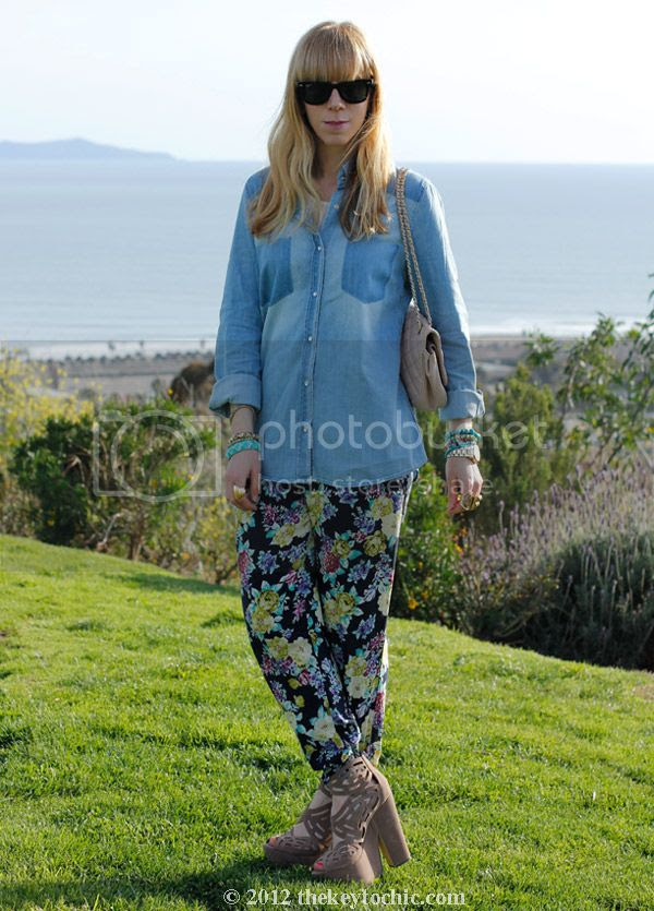 chambray faded pocket top, Love Culture floral pants, Michael Antonio Gallista heels, southern California fashion blog