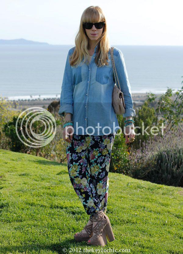 chambray faded pocket top, Love Culture floral pants, Michael Antonio Gallista heels, southern California fashion blog