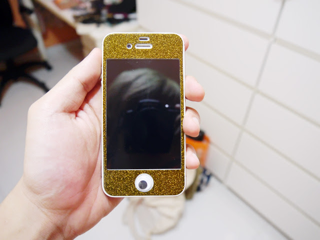 iphone gold and black glitter sticker front
