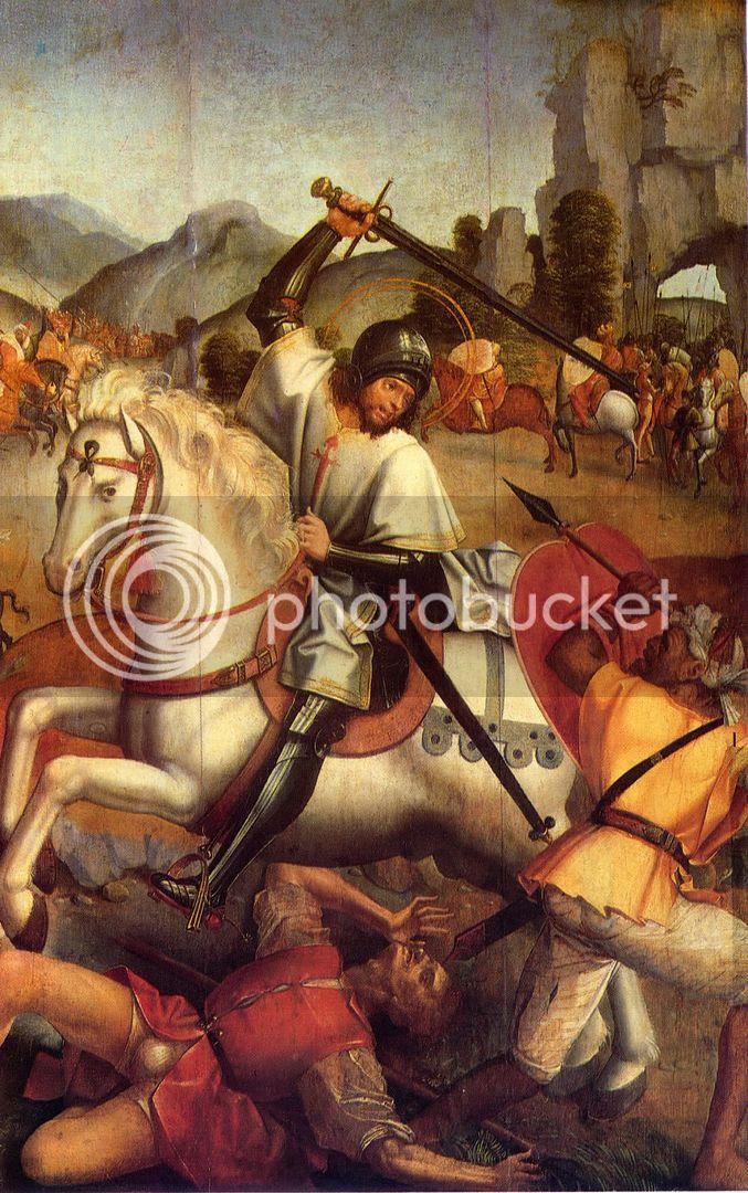 Mestre da LOURINHÃ, Sant'Iago combatendo os mouros, painel do retábulo de Sant'Iago e o mestre, MNAA