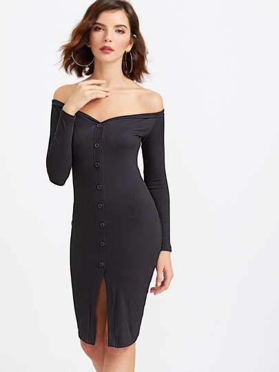 Down with buttons front bodycon dress long