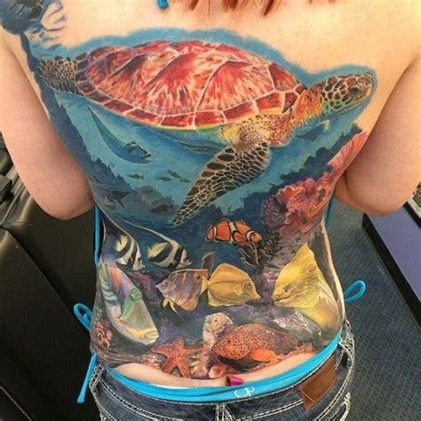 beautiful relaxing ocean life scenery tattoos
