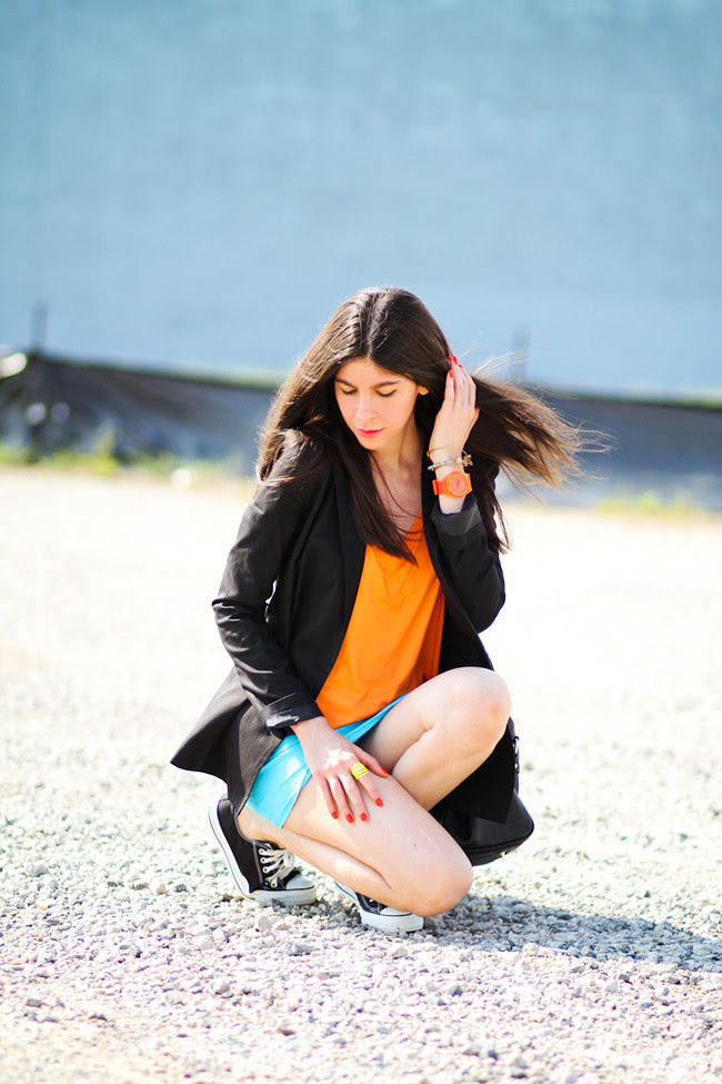 Color Blocking, Converse All Star, Fashion Outfit, Nixon Neon Watch
