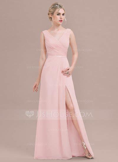 A Line/Princess V neck Floor Length Chiffon Bridesmaid