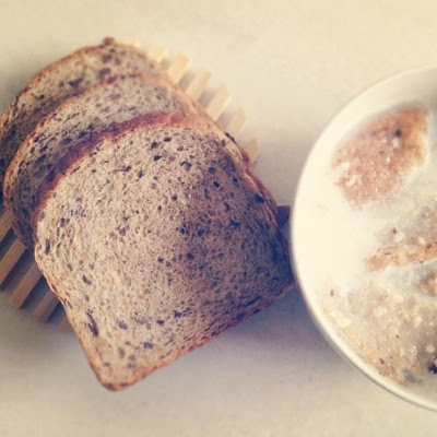Healthy start to the day!:) whole-grain bread with milk  (Taken with Instagram)