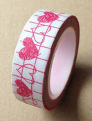 Pink & White Heart Chain Washi Tape - Love My Tapes