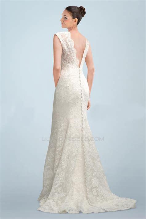 Elegant V neck Short Sleeves Lace Bridal Wedding Dresses