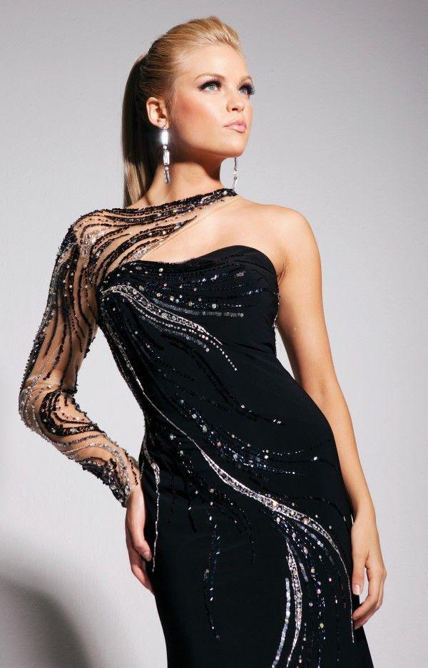 Black one shoulder long evening dress