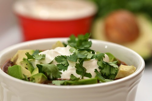Simple Black Bean Soup with Garnish