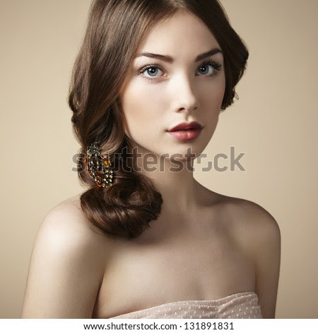 Portrait of young beautiful girl. Fashion photo - stock photo