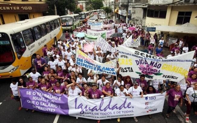 Protesto em Belém (PA) no Dia Internacional da Mulher, neste domingo, 8 de março. Foto: Agência Pará