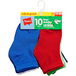 Hanes Boys` Toddler Ankle Socks, 27/10