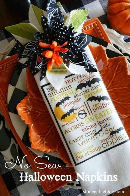 StoneGable: NO-SEW HALLOWEEN NAPKINS