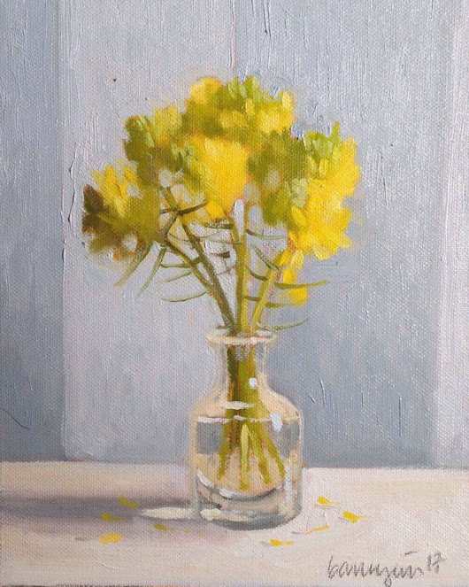 Yellow Rapeseed Flower Life Oil Painting on Canvas Board (2017) Oil painting by Caridad I. Barragan