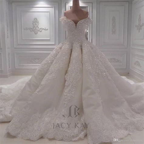 Luxury Ball Gown Arabic Wedding Dresses Off Shoulder 3D