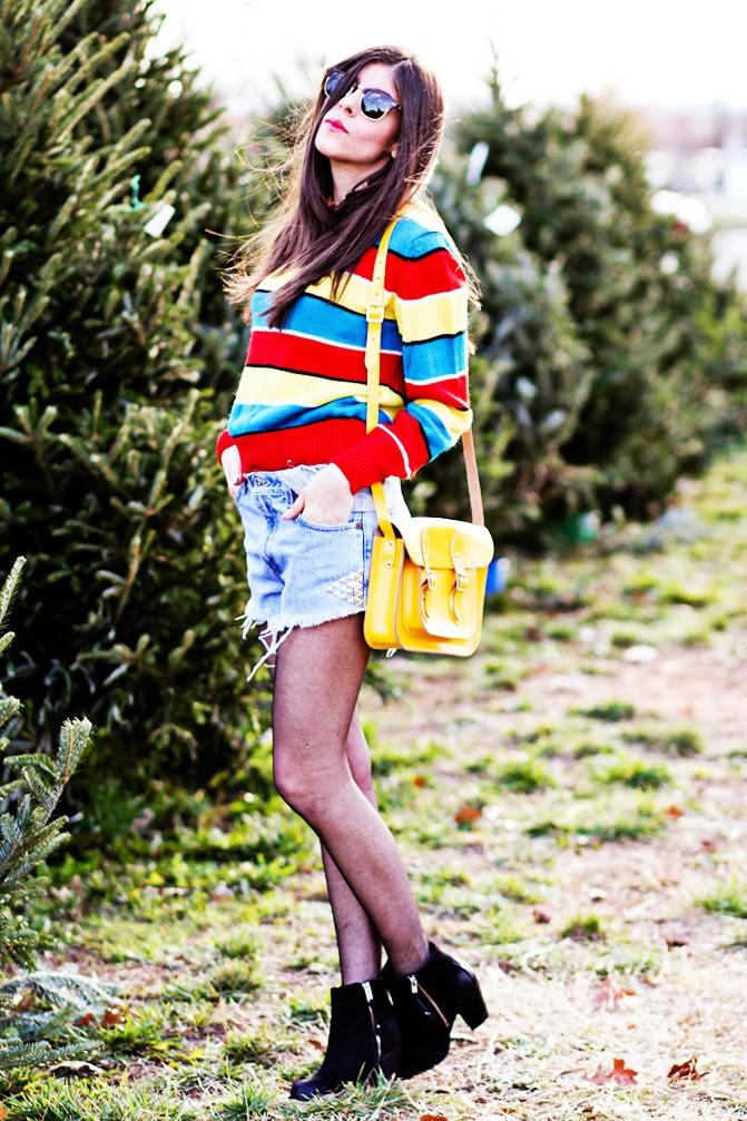 Christmas striped sweater, Sheer tights, Topshop ambush