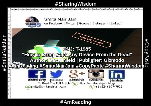 "SNJ: T-1985 | ""How to Bring Back Any Device From the Dead"" 