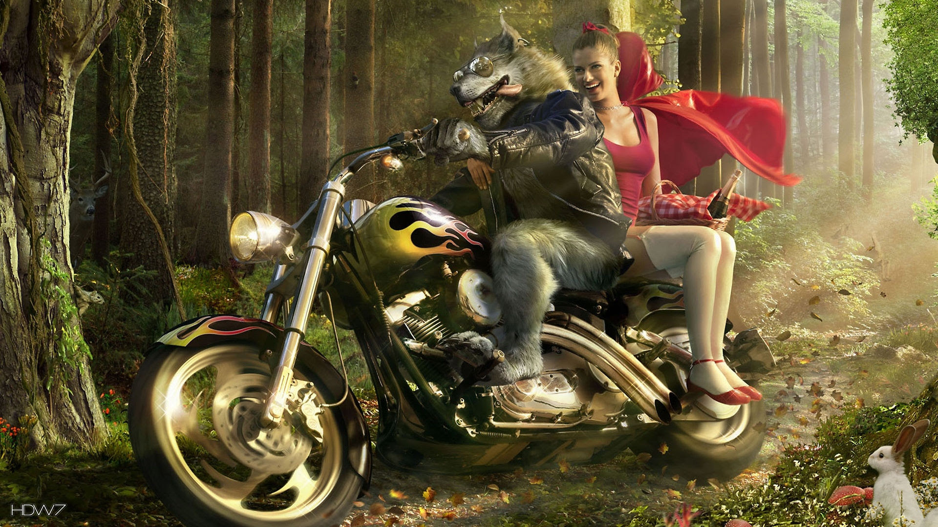 Wolf Biker And Little Red Riding Hood Wallpaper Hd Wallpaper