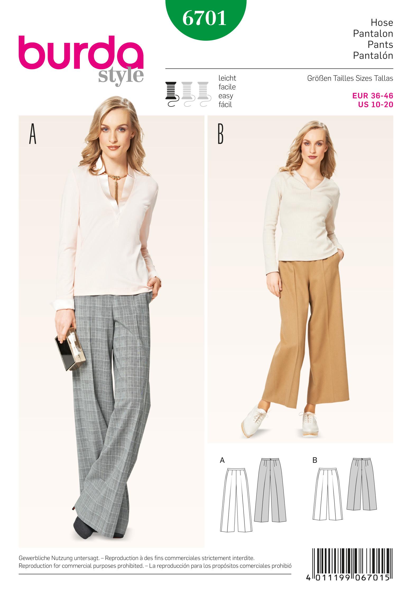 Burda Misses' Pants 6701