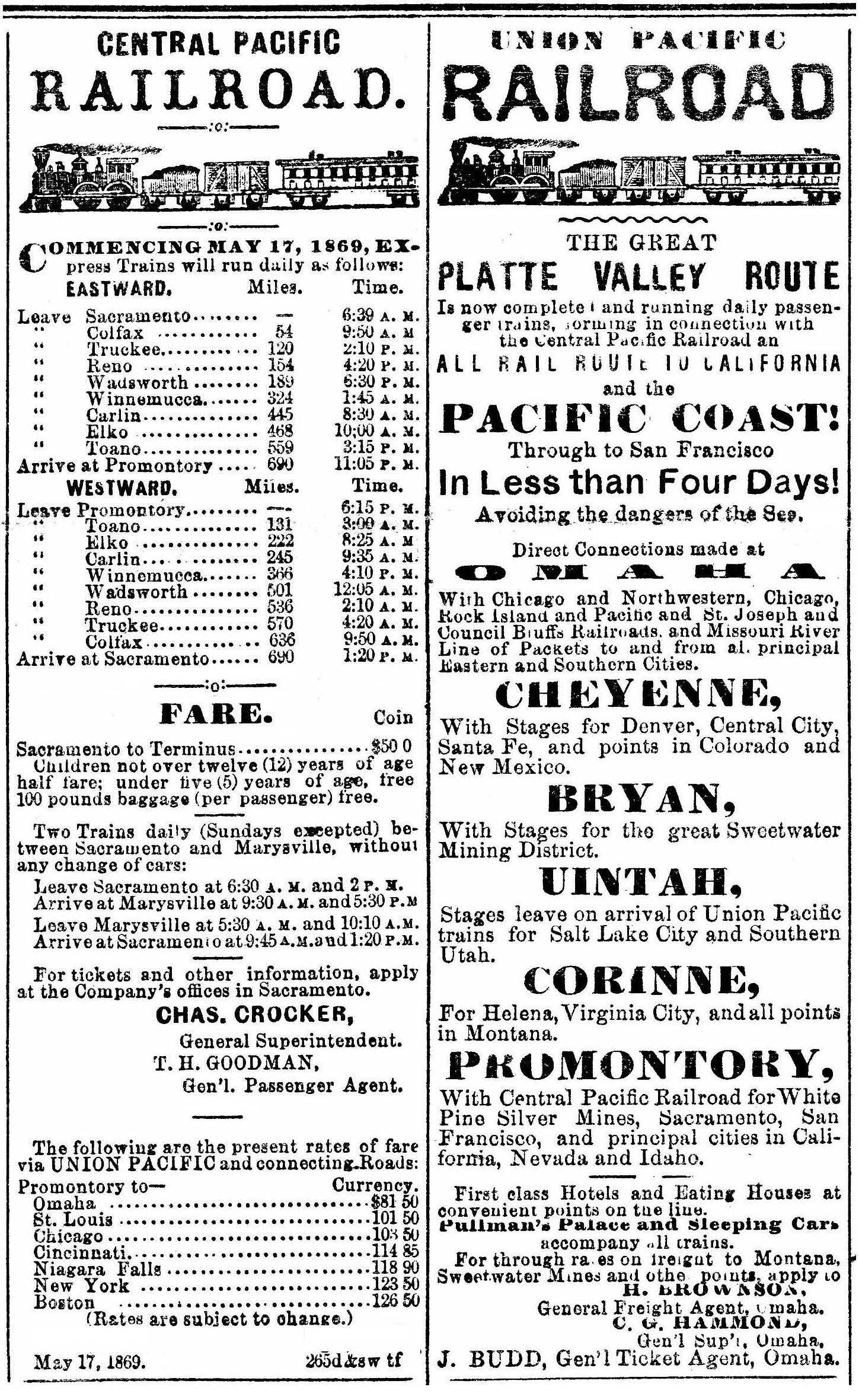 CPRR and UPRR Display Advertisements, May, 1869