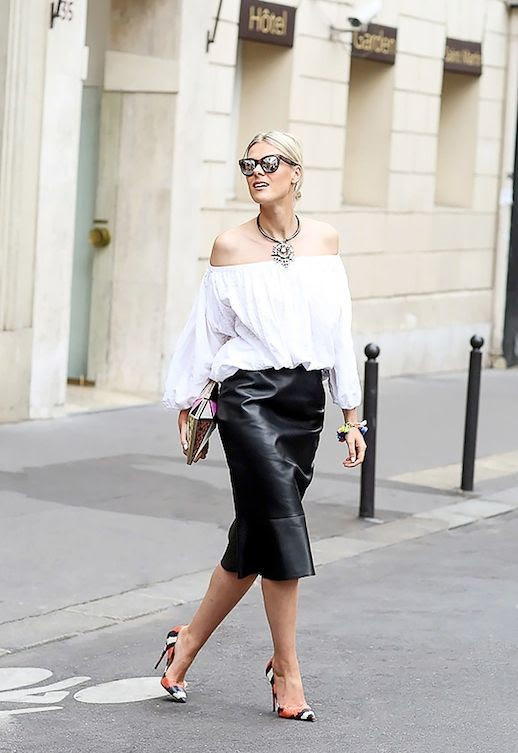26 Le Fashion 31 Stylish Ways To Wear An Off The Shoulder Look White Top Leather Skirt Python Pumps Street Style Via Lee Oliveira