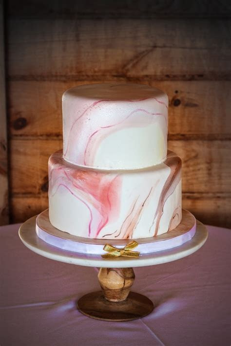 Modern Marble Wedding Cake with Painted Marbling Details