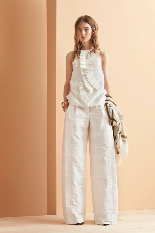 Le Fashion Blog Maiyet Resort 2015 Collection Ruffled White Sleeveless Top Textured Wide Leg Pants