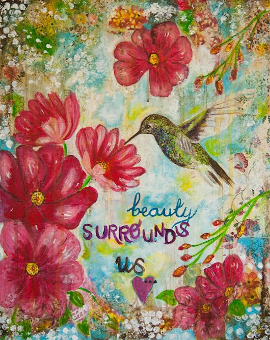Beauty surrounds us - Original Mixed Media - Vintage/Wall decor