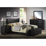 Acme Ireland III Upholstered Panel Bed Black, Size: Queen